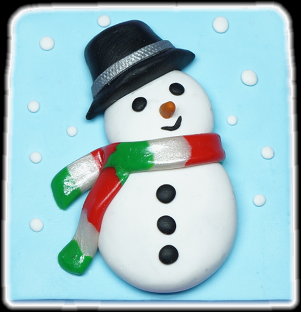 Bonhomme de neige en pâte Fimo